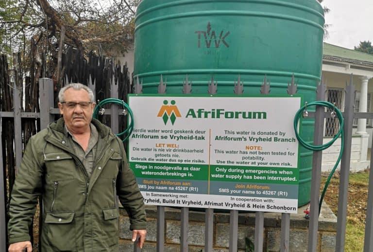 AfriForum rig noodwaterpunt in Vryheid op