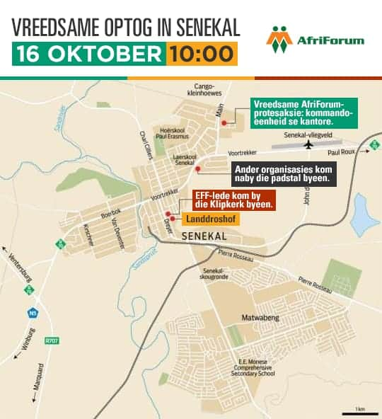 Arrangements for AfriForum's protest action against farm murders in Senekal
