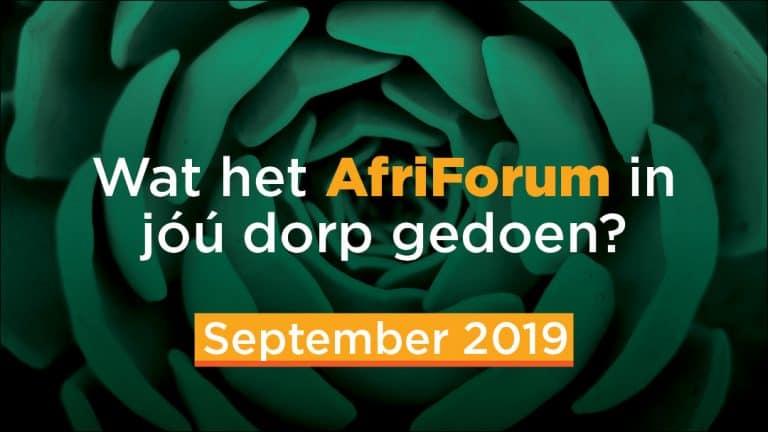 AFRIFORUM-SUKSESSE: SEPTEMBER 2019