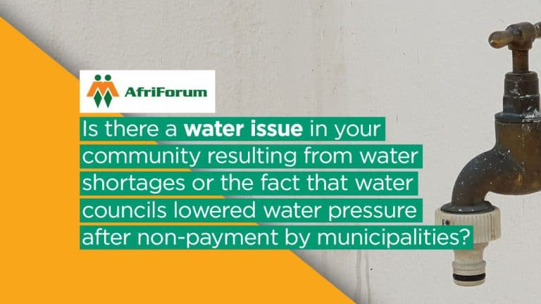 AfriForum Environmental Affairs water shortage petition