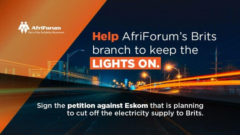 Help AfriForum's Brits branch to keep the lights on