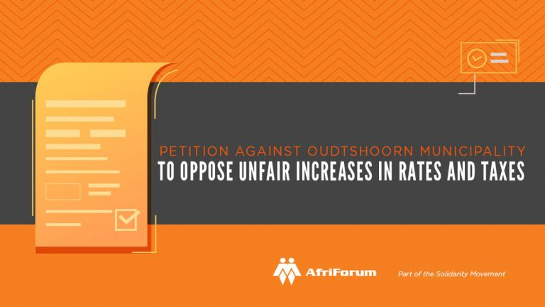 Petition against Oudtshoorn Municipality to oppose unfair increases in rates and taxes