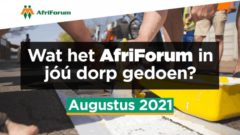 AFRIFORUM TAKSUKSESSE: AUGUSTUS 2021