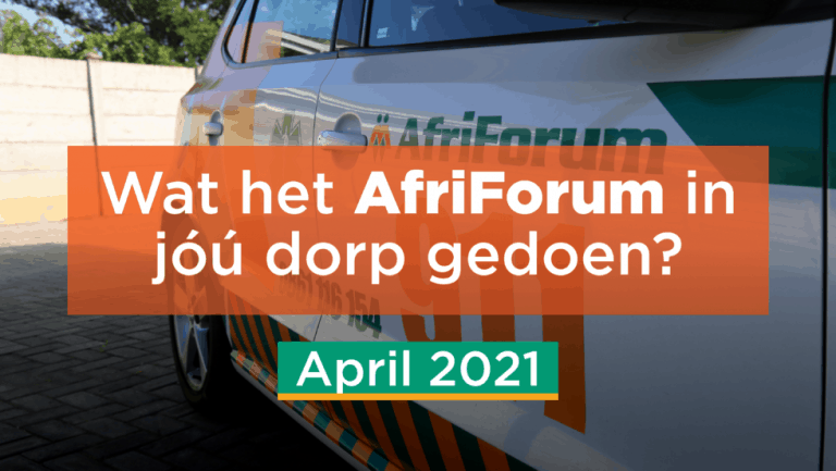 AFRIFORUM TAKSUKSESSE: APRIL 2021